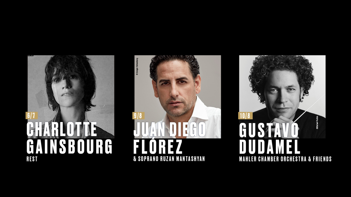 Singer and actress Charlotte Gainsbourg, tenor Juan Diego Flórez and conductor Gustavo Dudamel will be performing at the 33rd edition of the Festival.